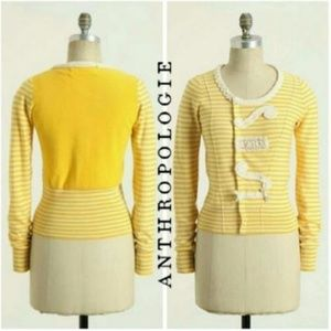 ANTHROPOLOGIE Sparrow Loose Lines yellow cardigan